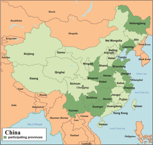 Map of Survey Regions — China Health and Nutrition Survey (CHNS) China On Map on