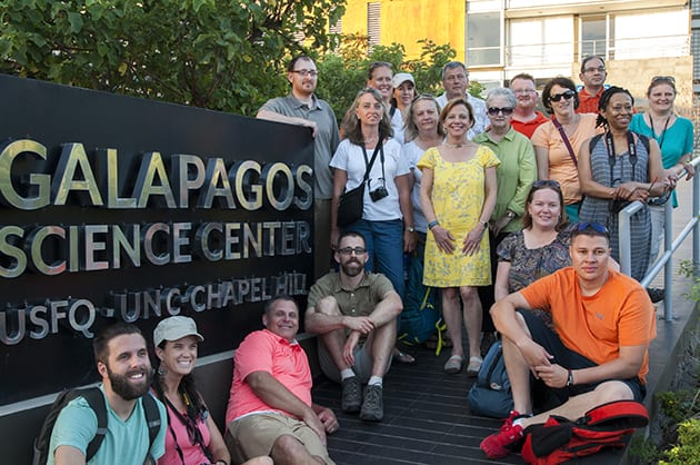 Researchers posing for photo at the Galapagos Science Center